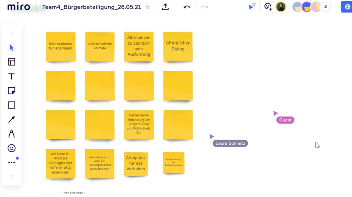 Ideenboard, digitale Grafik eines digitalen Workshops.